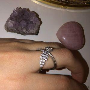 Silver Swarovski Crystal ring size 7 new